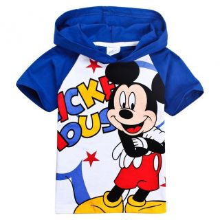 2014 Kids Boys Girls Mickey Mouse Short Sleeve Hoodies T Shirts 120 4 5years