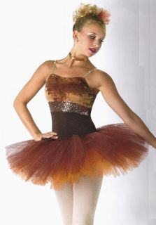 Autumn Leaves Copper Ballet Tutu Dance Dress Fall Fairy Costume CXS as 2XL