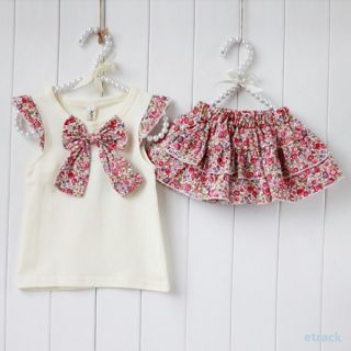 2pcs Set Flowers Bow Knot Tops Ruffle Culottes Outfits Kids Girls Costume 0 3Y