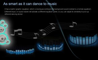 New Sound Music Activated Car Stickers Equalizer Glow Blue Light 45 11cm Free
