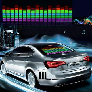 Car Sticker Music Rhythm LED Flash Light Bulb Sound Activated Equalizer 45 x 11