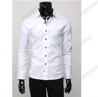 Mens Casual Slim Fit Stylish Long Sleeve Shirts Luxury Two Color Three Size New