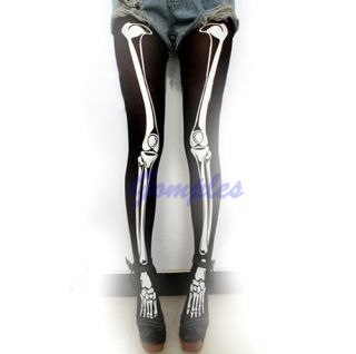 Funny Halloween Skeleton Bone Skull Tights Punk Women Pantyhose Legging Stocking