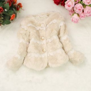 New Saucy Baby Toddler Girls Faux Fur Lace Coat Kids Winter Warm Jacket Snowsuit