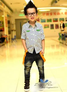 New Children Clothing Super Cool Boys Polka Dot Blouse T Shirts Tops sz2 7Years