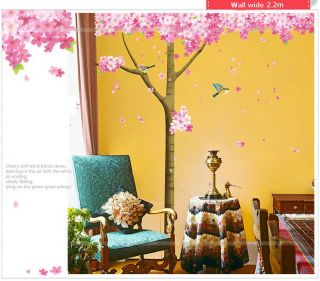 DIY Tree Birds Removable Vinyl Wall Stickers Decal Wallpaper Art Home Decor Pink