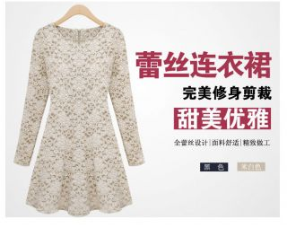 New Womens European Fashion Lace Round Neck Long Sleeve Sweet Dress 2 Color L173