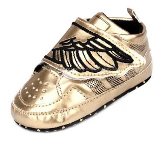 Baby Boys Gold Silver Wing Crib Shoes Size Newborn to 18 Months