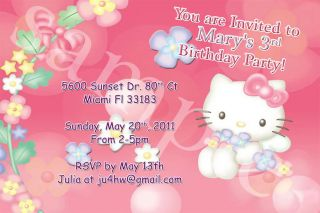Hello Kitty Custom Birthday Party Invitation w Envelope