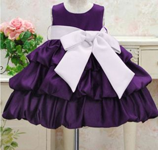 Toddler Kids Girls Clothes Purple Princess Party Bow Fold Dresses Size 1 2Y