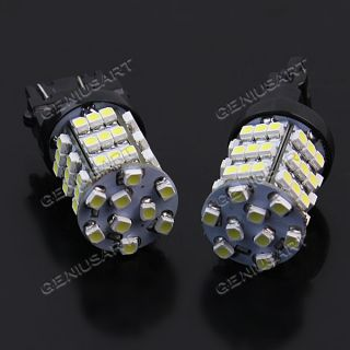 2 x White 3157 3757 4114 Car DRL Daytime Running 54 3528 SMD LED Light Lamp Bulb
