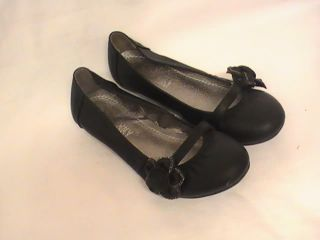 Girls Black Ballet Flats w Flower Design PY Girl Sz 9