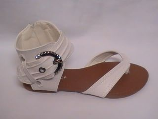 Girls White Thong Sandals w Anklest Side 11 Youth Sz 10