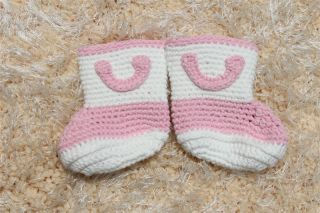 Cute Handmade Knit Crochet Cowboy Flower Baby Boots Shoes Newborn Photo Prop