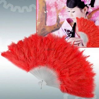 11 Colors Fluffy Feather Hand Fan for Stage Costume Party