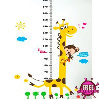 Vinyl Removable Large Kids Child Height Measurement Cartoon Wall Decals Stickers