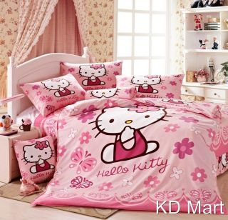 "New Kids Girls ""Hello Kitty""Single Twin Bed Quilt Cover 4pcs Cotton Set 1 5M 2M"
