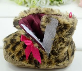 Winter Newborn Baby Infant Girl Faux Fur Leopard Shoe Pre Walker Boots Shoes