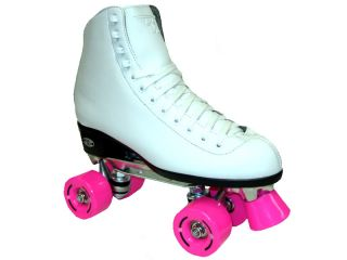 Riedell RW Wave Pink White Ladies Womens Girls Kids Childrens Quad Roller Skates