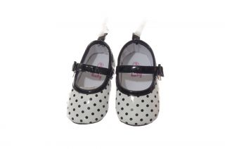 Baby Girls Black White Polka Dot Spring Easter Velcro Flat Dress Shoes 1 2 3 New