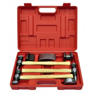 7 Piece Car Auto Body Panel Repair Tool Kit Handles Beating Hammers Dolly UPS