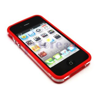 9x TPU Bumper Frame Silicone Skin Case w Side Button for iPhone 4S 4G 4