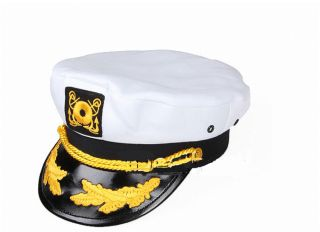 Sailor SHIP Yacht Boat Captain Hat Navy Marines Admiral Cap Hat White Gold MC52