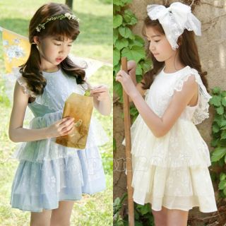 Kids Toddlers Girls Princess Lace Sleeveless Blue Beige Tutu Dress AGE2 7 Years