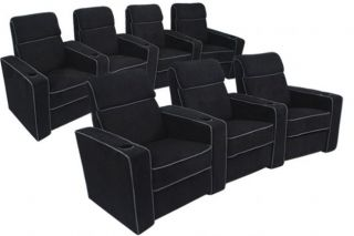 Lorenzo Home Theater Seating Black Recliners 7 Chairs
