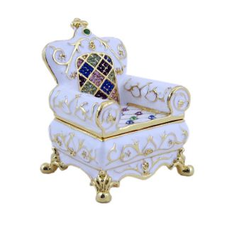White Chair French Throne Trinket Jewelry Box Collectible Multicolor Crystals