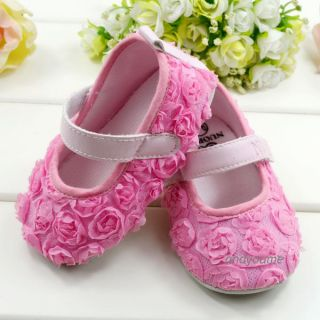 Baby Infant Toddler Pink Rose Flower Girl's Soft Sole Crib Shoes Age 3 12 Month