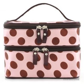 New Pro Portable Cosmetic Bag Retro Dot Beauty Makeup Hand Case Bag Double Layer