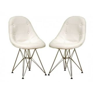 Set of 2 White Button Tufted Eiffel Faux Leather Dining Chair Modern