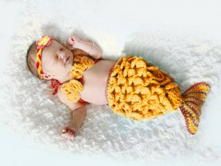 Baby Girl Toddler Infant Mermaid Knitted Costume Set Photo Photography Prop L52