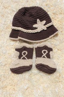 New Handmade Knit Crochet Brown Grey Cowboy Baby Hats Boots Newborn Photo Prop