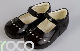 Girls Black Diamanté Ivory Bridesmaid Shoes Baby Girls White Christening Shoes