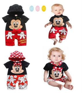 Baby Toddler Boys Girls Mickey Minnie Mouse Hoodies One Piece Outfits Sets