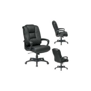 OST Deluxe High Back Black Glove Soft Leather Chair with Padded Loop Arms
