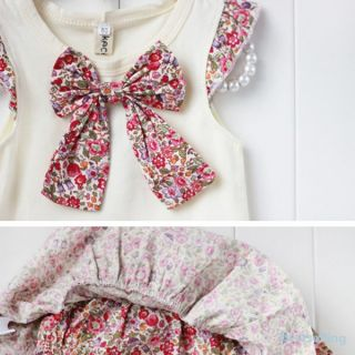 Baby Culottes 2pcs Flowers Bow Knot Tops Ruffle Outfits Toddlers Girls Size 0 3Y
