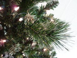 7 5' Clear Pre Lit Frosted Artificial Christmas Tree