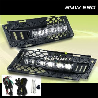 BMW E90 Sedan Pair Fog Light Grille w LED Running Light Wire Harness Left Right