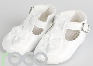 Baby Girls White Shoes Girls Christening Shoes Soft Sole Pram Shoes