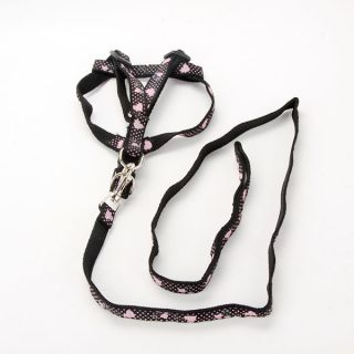 Adjustable Bone Printing Print Rope Pet Dog Cat Puppy Lead Leash Harness 4 Model