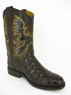 Men's Brown Leather Crocodile Alligator Belly Roper Cowboy Boots Western Rodeo