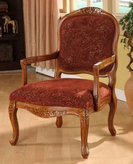 "New 38""H Antique Look Light Oak Handcarved Hardwood Wine Gold Paisley Arm Chair"
