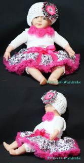 Baby Hot Pink Leopard Pettiskirt Hot Pink Top Set 3 12M