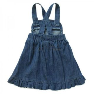 Girls Kid Toddler Denim Dress Jeans Overall Strap Cowgirl Flower Costume Sz 1 7