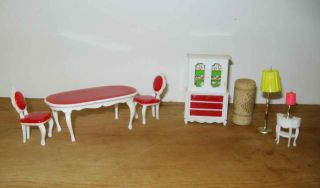Vintage Plastic Doll House Furniture Red White Dining Table Chairs Hong Kong
