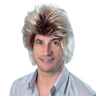 Fancy Dress Party Costume Carnival Cheesy 2 Tone Pop Boy Band Hair Style Wig
