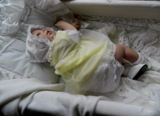 Reborn Baby Girl in Vintage Style Dress Great for Vintage Pram Cot Chair Etc